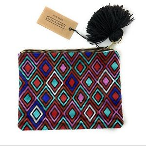 Guatemalan Huipil Inspired Beaded Bag with Tassel